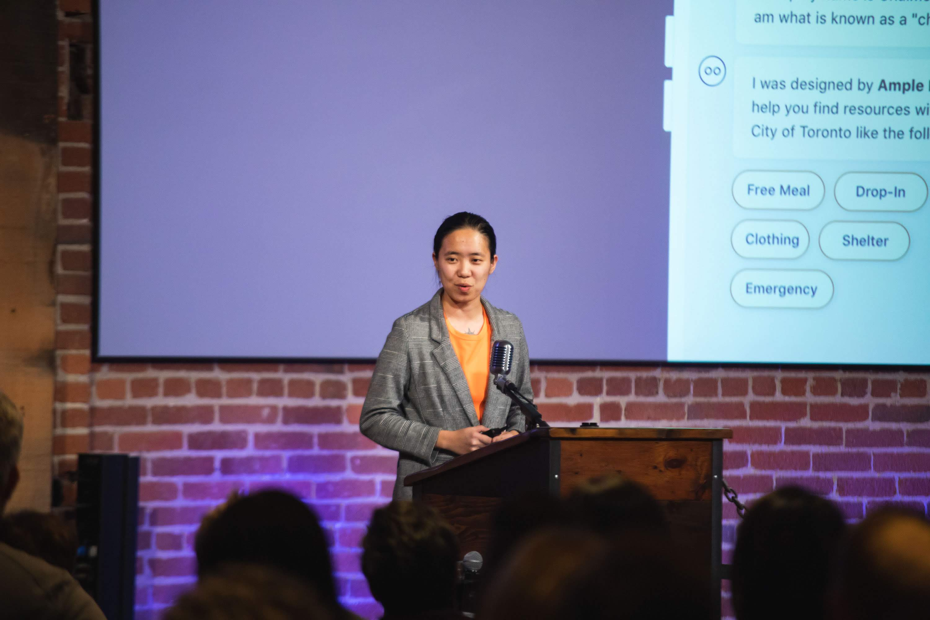 CG Chen, Founder of Ample Labs, pitching at Fast Forward Demo Day 2019 | Photo credit: David Dines