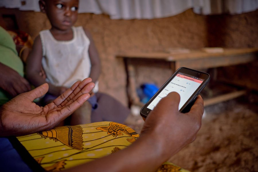 A community health worker uses Medic Mobile's software in Kenya.