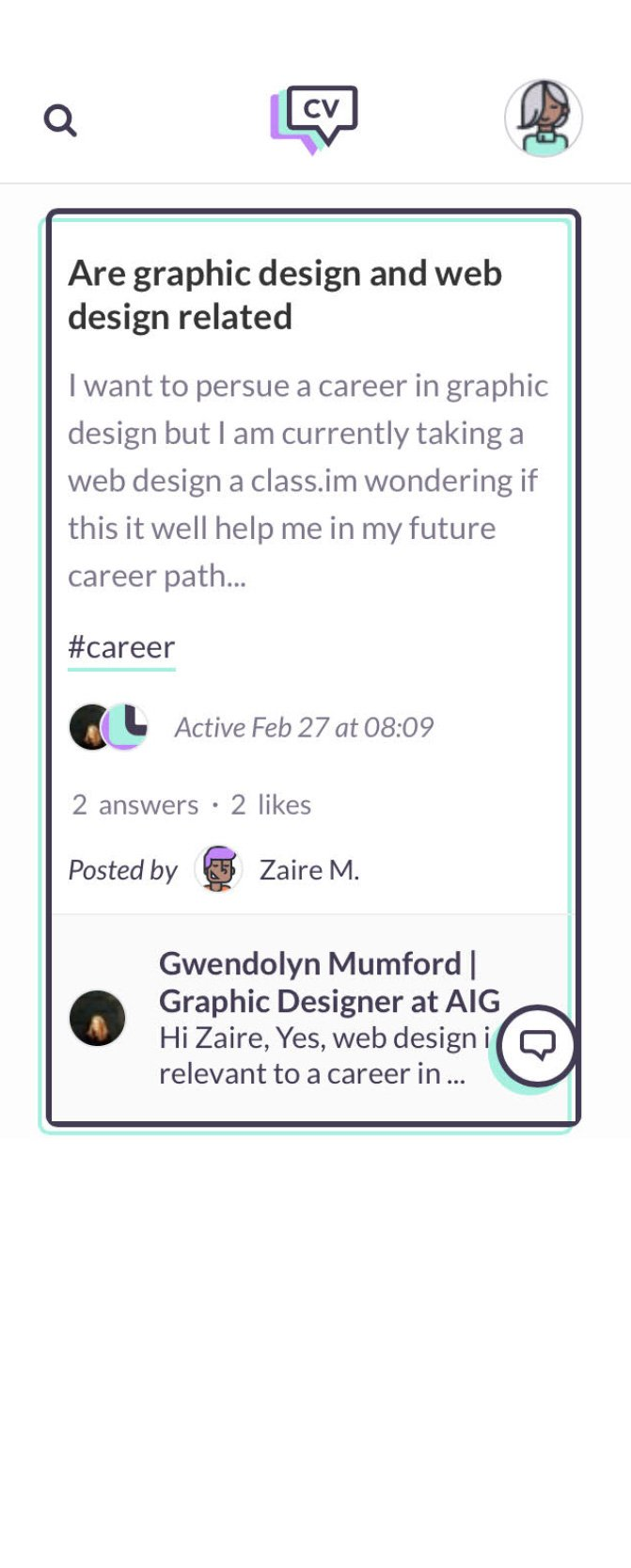 Screenshot of CareerVillage experience